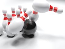 Bowling bowl striking the pins - 3D rendering. A black glossy bowling bowl is striking the white, red-striped, pins, on white background - 3D rendering Royalty Free Stock Photo