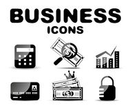 Black glossy business icon set Stock Photo