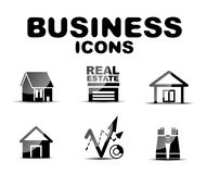 Black glossy business icon set Royalty Free Stock Image