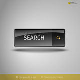 Black Glossy Button. With gold icon. Vector, business, web, design elements Stock Image