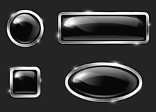 Black glossy buttons Stock Photos
