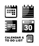 Black glossy calendar icon set Royalty Free Stock Photos
