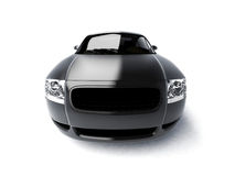 Black glossy car front view. Luxury car close-up on white background. For more views and colors of this car please visit my portfolio vector illustration