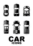 Black glossy car icon set Royalty Free Stock Photos