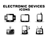 Black glossy electronic devices icon set Royalty Free Stock Photography