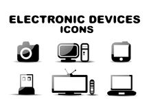 Black glossy electronic devices icon set Royalty Free Stock Photos