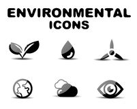 Black glossy environmental icon set Stock Images