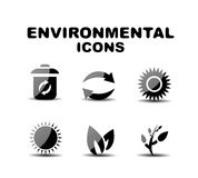 Black glossy environmental icon set Royalty Free Stock Photos