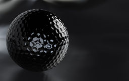 Black, glossy golf ball with alpha channel. Stock Photos