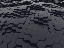 Black Glossy Hexagon Waves Abstract 3D Background. 3D Illustration stock illustration