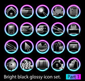 Black glossy icon set 1 Royalty Free Stock Photos