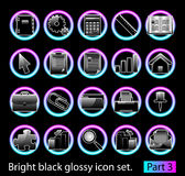 Black glossy icon set 3. Standart collection of design element for your creative word (see other in my portfolio Stock Image