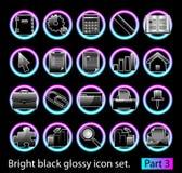 Black glossy icon set 3 Stock Image