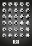 30 black glossy interface  icons. Vector black glossy interface icons Stock Photography