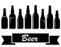 Black glossy isolated beer bottles stock illustration
