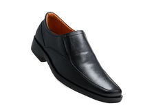 Black glossy man shoe isolated Royalty Free Stock Photo