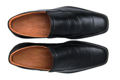Black glossy man shoes isolated Royalty Free Stock Photos