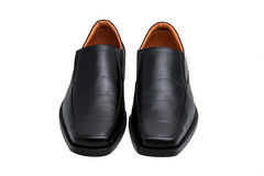Black glossy man shoes isolated Stock Images