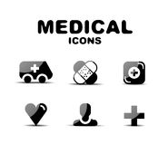 Black glossy medical icon set Stock Images