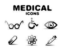 Black glossy medical icon set Stock Photography