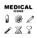 Black glossy medical icon set Royalty Free Stock Image
