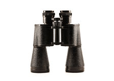 Black glossy metallic binoculars. Black glossy metallic binoculars on the white background royalty free stock image