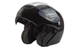 Black, glossy motorcycle helmet Royalty Free Stock Images