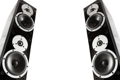 Black glossy music speakers Stock Images