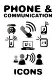 Black glossy phone / communication icon set Royalty Free Stock Photography