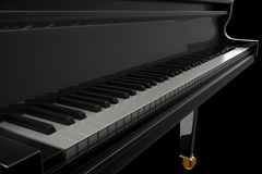 Black Glossy Piano in the Dark Scene Stock Photography