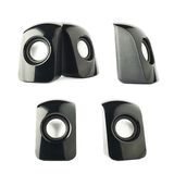 Black glossy plastic sound speakers isolated Stock Photo