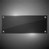 Black glossy plate on metal background,  Royalty Free Stock Photo