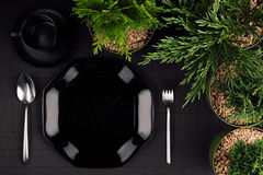 Black glossy plate, spoon, fork, border green plants as elegant minimalistic eco friendly mockup for menu, top view. Stock Images