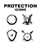 Black glossy protection icon set Stock Images