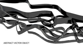 Black glossy shapes. Abstract glossy plastic ribbons  on white Royalty Free Stock Photos