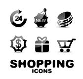 Black glossy shopping icon set Royalty Free Stock Image