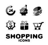 Black glossy shopping icon set Royalty Free Stock Image