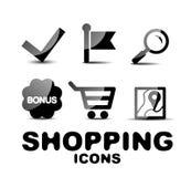 Black glossy shopping icon set Stock Photos