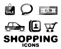 Black glossy shopping icon set Stock Photos