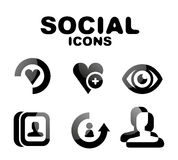Black glossy social icon set Stock Image