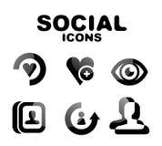 Black glossy social icon set Stock Image