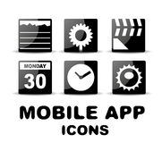 Black glossy square mobile app icons Stock Photography