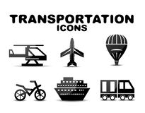 Black glossy transportation icon set Stock Photo