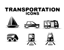 Black glossy transportation icon set Royalty Free Stock Image