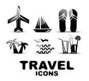 Black glossy travel icon set Royalty Free Stock Photo