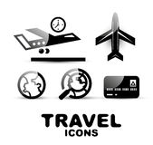 Black glossy travel icon set Stock Image