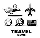 Black glossy travel icon set Stock Image