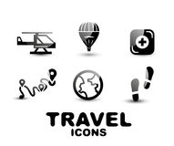 Black glossy travel icon set Stock Photo