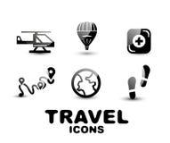 Black glossy travel icon set Stock Photo