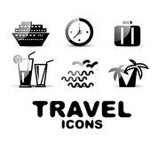 Black glossy travel icon set Royalty Free Stock Image